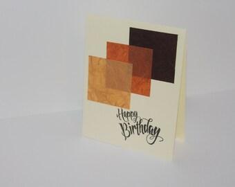 Geometric Brown Happy Birthday Card