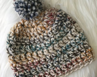 Chunky Crochet Beanie with Pom Pom - Multi-Colored // Rainbow