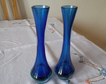 A pairCobalt Blue glass stem vases.