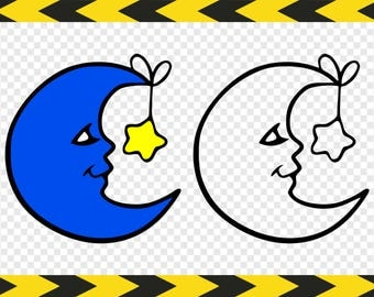Crescent moon SVG Nursery Clipart Decor Files for Silhouette Cricut Dxf Pdf Png