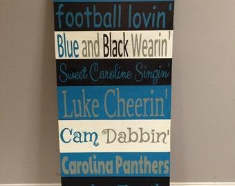 Carolina Panthers Rustic Porch Sign
