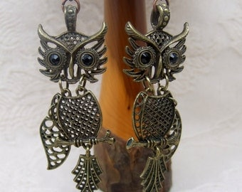 Steampunk Owl Antique Brass Statement Earrings