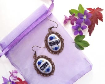 Custom Embroidered Music Earrings | music art | Handmade contemporary embroidery | Brass or Silver plated frames