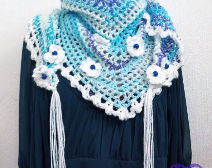 Road Trip Scarf, Crochet Scarf, Handmade Scarf, Small Shawl crochet, Variegated scarf, White, blue, cream, Summer scarf, gifts for her,