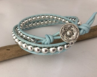Double Layer Leather Wrap Bracelet