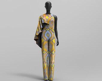 Custom Made African Print Cape Jumpsuit: Oheema