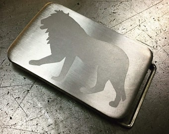 Lion belt buckle Titanium lion design Brushed replaceable handmade