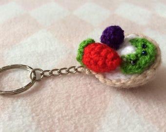 Crocheted Kiwi and Strawberry Fruit Tart Keychain