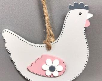 Dove grey wooden hanging chicken