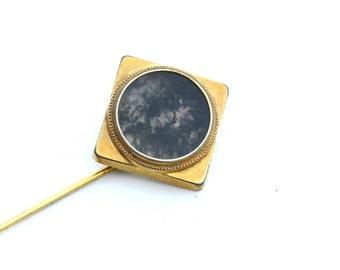 Victorian Era Gold Filled Moss Agate Stickpin Stick Pin