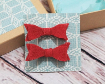 felt hairclip bows - girls bows - girls hair clips - felt bows - toddler hair clips - hair bow gift