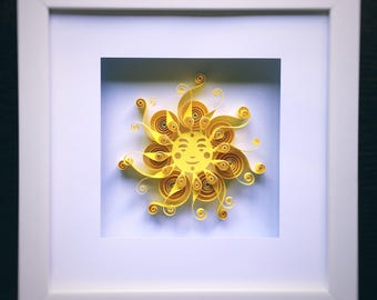 Quilled Paper Art Sun, Quilling, Paper art, Sun Art, Wall Decor, Home Decor, Framed Paper Art, Perfect Gift, Bedroom decor