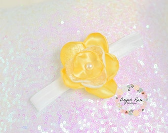 Yellow Flower Headband // Easter // Spring // First birthday // Singed Satin Flower // Handmade //
