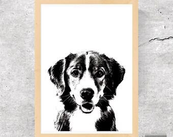 Dog, Dog Print, Dog Poster, Dog Stencil, Peekaboo Dog, Peekaboo Print, Black and White Dog, Minimalist Print, Minimalist Dog, Printable Art
