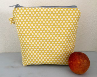 Yellow dot lunch pouch, lunch bag, lunch bags, snack bag, snack pouch, dot lunch bag, lunchbox