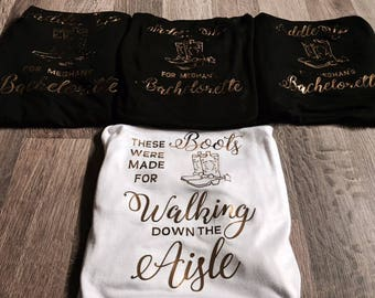 Bachelorette tank tops - These Boots were Made for Walking down the Aisle, Saddle Up for Bachelorette Custom Bridal Party Tanks