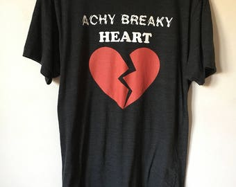 Achy Breaky Heart Black Americal Apparel tri blend track T shirt! Soft! Billy Ray Cyrus. Line Dancing, 90s, country music. Heartbreaker.