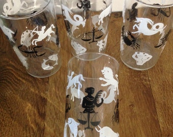 Four Vintage 1960's Zodiac sign glasses