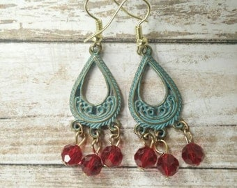 Patina look Dangle earrings with glass Ruby