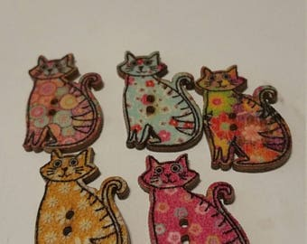 """colourful wooden buttons """"Cats"""""""