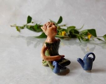Flower Wichtel flower Elf green watering can elven garden Moss garden-unique