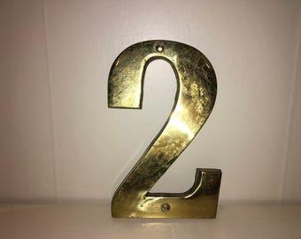 Vintage Gold #2 Repurposed Old House Address Number