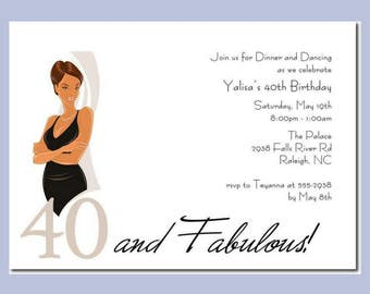 African American Party Invitation | African American 40 and Fabulous |  40th Birthday | 40 and Fierce | 40 and Phenomenal | 40th Milestone