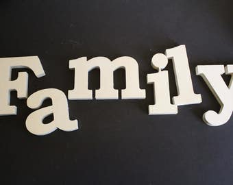 unfinished wooden letters family