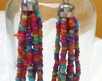 Multi colored seed bead Boho earrings