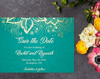 Classic Wedding Save the Date, Indian Wedding, Save the Date, Save the Date Template, Save the Date Card, Save-the-date