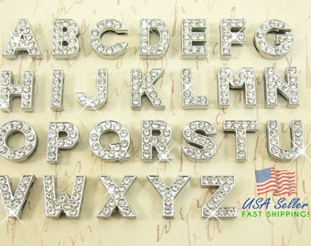 26pcs Slide Letters Charms Wholesale Full Rhinestone 8mm Pick Choose Your Own or 1 Set A-Z (1 each) Alphabet Rhinestone Slide Charm Letters