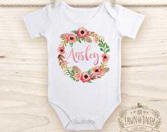 Personalized Onesie® - Boho Baby Girl Clothes - Custom Baby Gift - Floral Wreath - Shower Gift