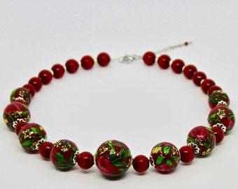 "Ethno necklace ""HIGHLANDER ROSES"" - handmade / in green, white, red, blue, black / original (20mm)"