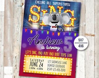 Sing Movie Invitation, Sing Movie Birthday, Sing Movie Party, Sing Invites, Buster Moon Printables, Sing Movie Printable Invite, Sing Card
