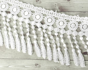 1m lace fringed white 11 cm costume fashion wedding chic boho Gothic wide drops top polyester