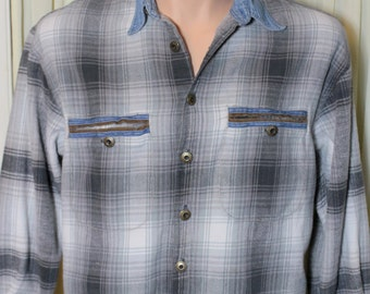 Vintage Retro 1970's Men's Plaid Long Sleeve Shirt W/ Denim Collar , Fryday Club by NRK
