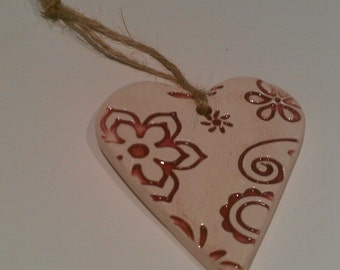 Red wine ceramic heart
