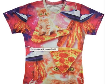 Pizza cats with bacon T-shirt