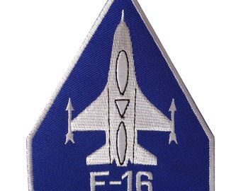 F16 Patch Iron / Sew On Embroidered Badge United States Air Force Jet Aeroplane