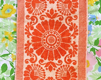 Vintage Orange Floral Hand Towel