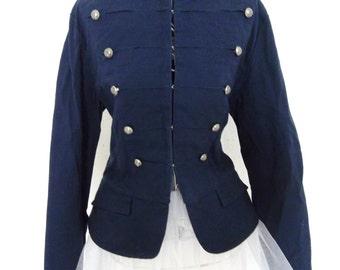 Vintage Military goth steampunk jacket blazer size US 6 UK 10 blue