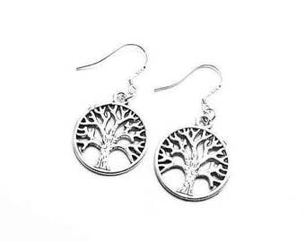 Tree of Life Sterling Silver Hook Earrings