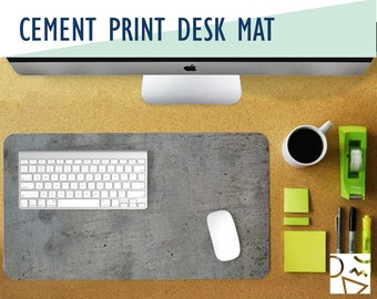 Cement Print Desk Mat - 2 Sizes - High Quality Digital Print, Extended Mouse Pad - Desk Accessory