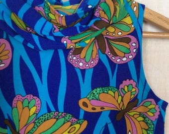 Vintage maxi dress from the 1970's - psychadelic dress - hippie style print