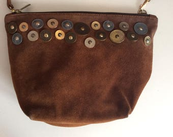 Campomaggi Suede Shoulder Bag - 1970 Style bag with Metal coins - Hippie Chic