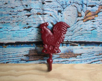 Burgundy (Red) Chicken / Rooster Cast Iron Hook