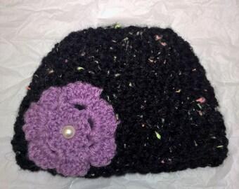 Newborn Flower beanie. Baby, 0-3 months. Purple, Crochet hat, beanie. Newborn, 0-3 months