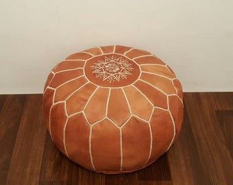 Authentic Moroccan Leather  Pouf,Handcrafted Leather Pouffe ottoman ,Footstool,P51