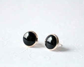 Earrings Rosé gold cabochon 10 mm black