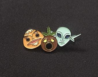 Legend Of Zelda Mask Set Enamel Pin Goron, Deku Scrub, Zora (Majora's Mask)